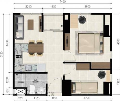 2 Bedroom Suite Corner